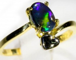 SIZE 5.5 BLACK OPAL SET IN 18K LOVE HEART DESIGN GOLD 14K RING  CJ932