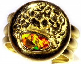 ITALIAN MADE 18K GOLD BLACK OPAL RING SIZE 8 ADJUSTABLE CJ 934