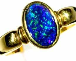 BLACK OPAL 18 K GOLD RING SIZE  7    CF211