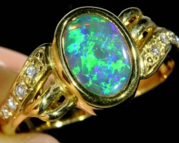 GEM BLACK CRYSTAL  OPAL 18 K GOLD RING SIZE 9  CF212