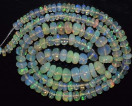 43.30 Ct Natural Ethiopian Welo Opal Beads Play Of Color