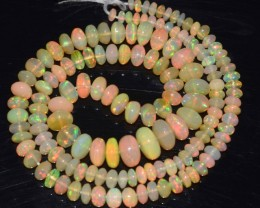 56. 40 Ct Natural Ethiopian Welo Opal Beads Play Of Color