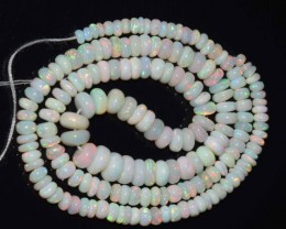 32.65 Ct Natural Ethiopian Welo Opal Beads Play Of Color