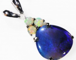 SOLID BLACK AND CRYSTAL OPALS  SET IN SILVER PENDANT [SOJ5641]2