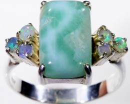 10 SIZE CRYSTAL OPALS WITH LARIMAR RING [SOJ5647]