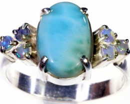 SIZE 10 CRYSTAL OPALS WITH LARIMAR RING [SOJ5648]