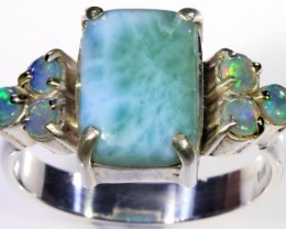 SIZE 9 CRYSTAL OPALS WITH LARIMAR RING [SOJ5649]