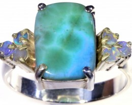 SIZE 10 CRYSTAL OPALS WITH LARIMAR RING [SOJ5650]