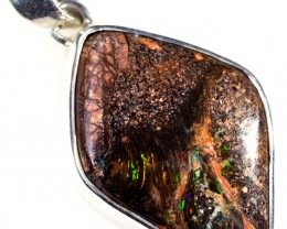 WOOD FOSSIL BOULDER STONE SET IN SILVER PENDANT [SOJ5673]