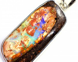 WOOD FOSSIL BOULDER STONE SET IN SILVER PENDANT [SOJ5678]