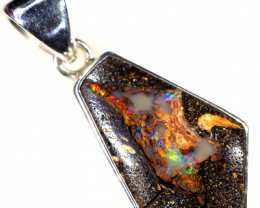 WOOD FOSSIL BOULDER STONE SET IN SILVER PENDANT [SOJ5687]