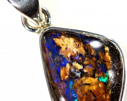 WOOD FOSSIL BOULDER STONE SET IN SILVER PENDANT [SOJ5691]