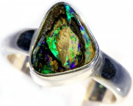 SIZE 7 WOOD FOSSIL BOULDER SET IN SILVER RING [SOJ5702]