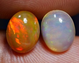 1.85 CRT BRILLIANT PRETTY PAIR CLOUDY SUNSET FIRE PATTERN WELO OPAL