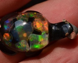 BEAUTY FIRE OPALS .925 SILVER TURTLE MOSAIC ACRYLIC PENDANT JEWELRY