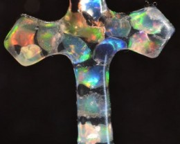 BEAUTY FIRE OPALS .925 SILVER CROSS MOSAIC ACRYLIC PENDANT JEWELRY