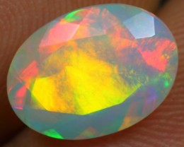 FREE SHIPPING Faceted 2.40cts Remarkable Rainbow Fire Ethiopian Opal