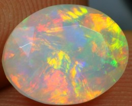 Faceted 2.55cts Splendid Flash Sunrise Fire Ethiopian Opal