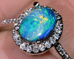 1.6ct Doublet Opal White Gold Plated CZ Ring Size10 [DOR-004]