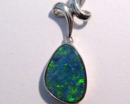 Beautiful Australian Opal Doublet and Sterling Silver Pendant