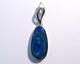 Beautiful Australian Opal Doublet and Sterling Silver Pendant