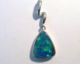 Beautiful Beautiful Australian Opal Doublet and Sterling Silver Pendant