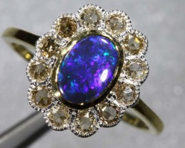 11.60CTS 14k SOLID OPAL DIAMOND AND GOLD ART DECO RING OF-1922