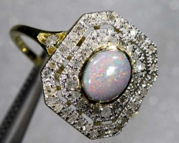 14.25CTS SOLID OPAL DIAMOND AND GOLD ART DECO RING OF-1925