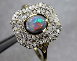 14.85CTS SOLID OPAL DIAMOND AND GOLD ART DECO RING OF-1927