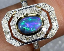 14.20CTS SOLID OPAL DIAMOND AND GOLD ART DECO RING OF-1928