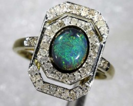 14.75CTS SOLID OPAL DIAMOND AND GOLD ART DECO RING OF-1934