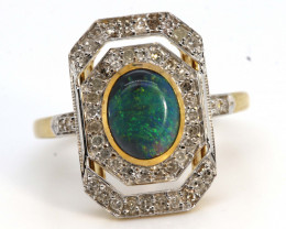 14.75CTS SOLID OPAL DIAMOND 14K GOLD ART DECO RING OF-1934