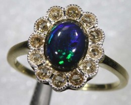 12.85CTS SOLID OPAL DIAMOND AND GOLD ART DECO RING OF-1932