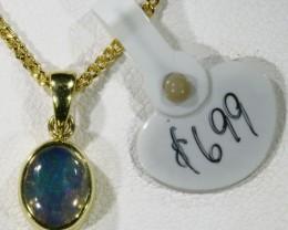 EnhancedCrystal Opal set in 18k Gold Pendant  SB 621