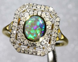 14.85CTS SOLID OPAL DIAMOND AND GOLD ART DECO RING OF-1937