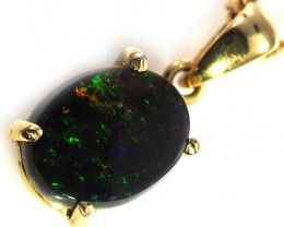 Black Opal set in 18k Gold Pendant  SB627