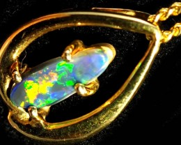 Black Opal set in 18k Gold Pendant  SB630
