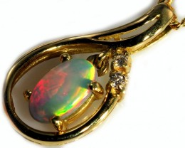 Black Opal set in 18k Gold Pendant  SB632