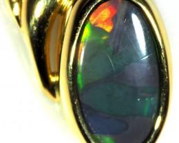 Black Opal set in 18k Gold Pendant  SB636