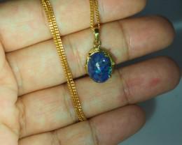 Black Opal set in 18k Gold Pendant  SB649