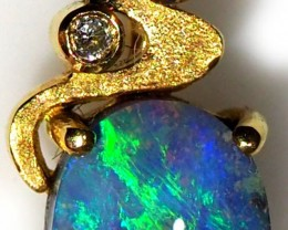 Black Opal set in 18k Gold Pendant  SB651