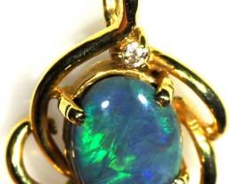 Black Opal set in 18k Gold Pendant  SB654