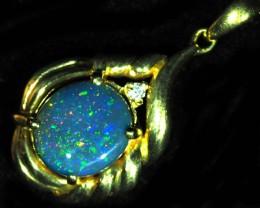 Black Opal set in 18k Gold Pendant  SB656