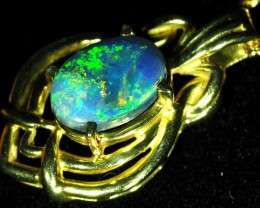 Black Opal set in 18k Gold Pendant  SB657