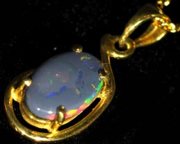 Black Opal set in 18k Gold Pendant  SB661
