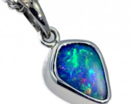 Boulder Opal set in 18k White Gold Pendant  SB668