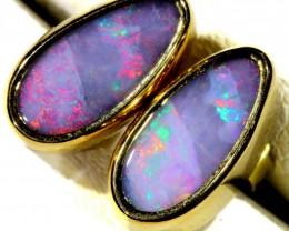 Fire Red boulder  Opal set in 18k Gold Earrings SB678