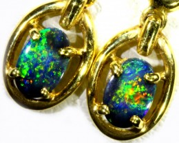 Black Opal set in 18k Gold Earrings SB681