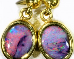Black Opal set in 18k Gold Earrings SB686
