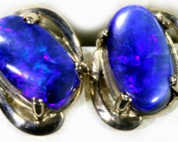 Black Opal set in 18k White Gold Earrings SB687